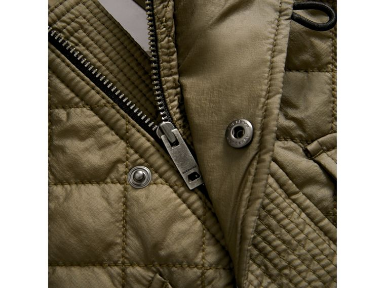 Hooded Diamond Quilted Jacket in Olive | Burberry - cell image 1