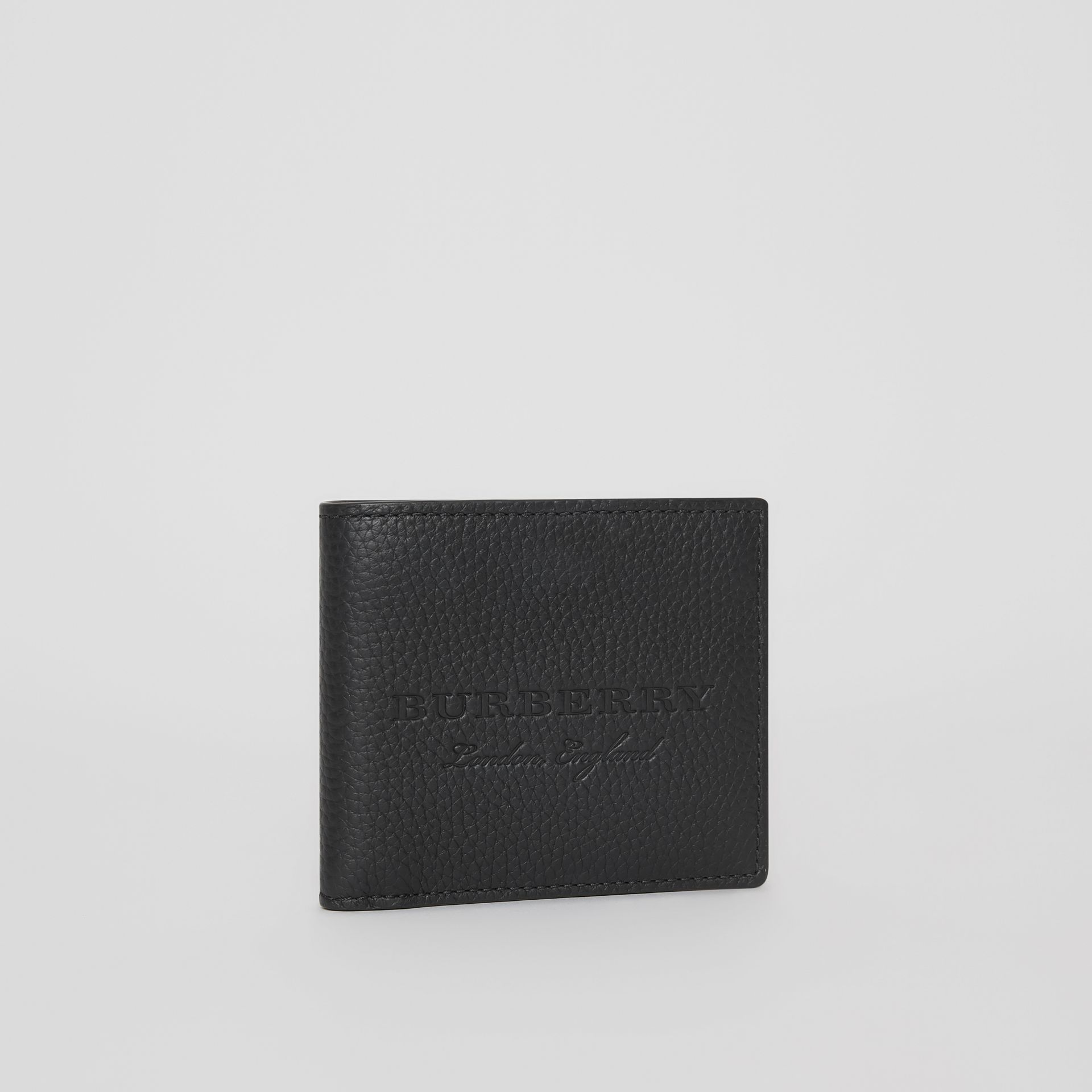Embossed Leather Bifold Wallet in Black - Men | Burberry Australia - gallery image 4