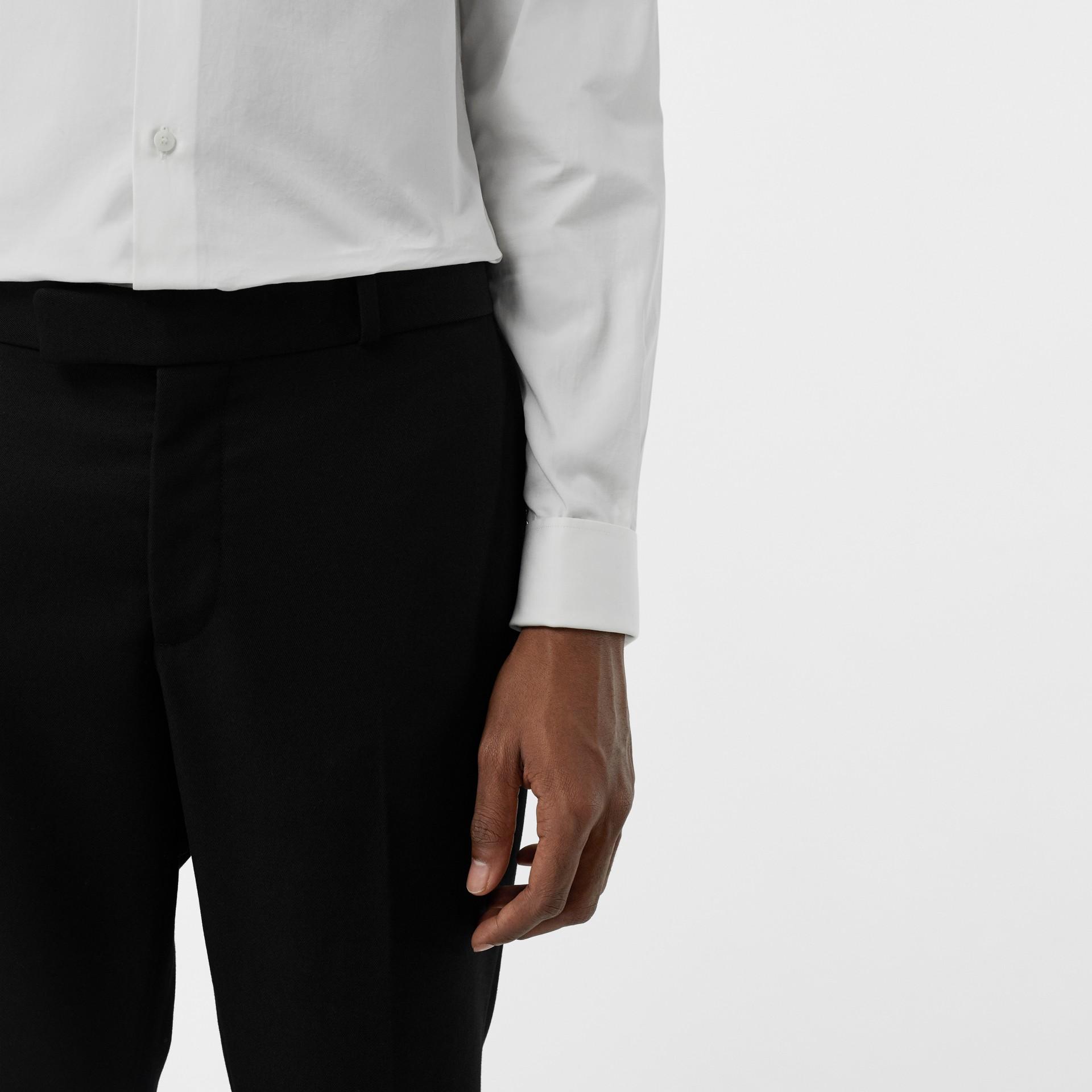 Soho Fit Bullion Stripe Wool Twill Tailored Trousers in Black - Men | Burberry - gallery image 1