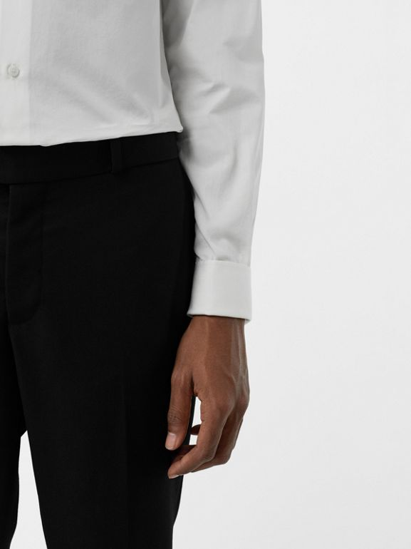 Soho Fit Bullion Stripe Wool Twill Tailored Trousers in Black - Men | Burberry - cell image 1