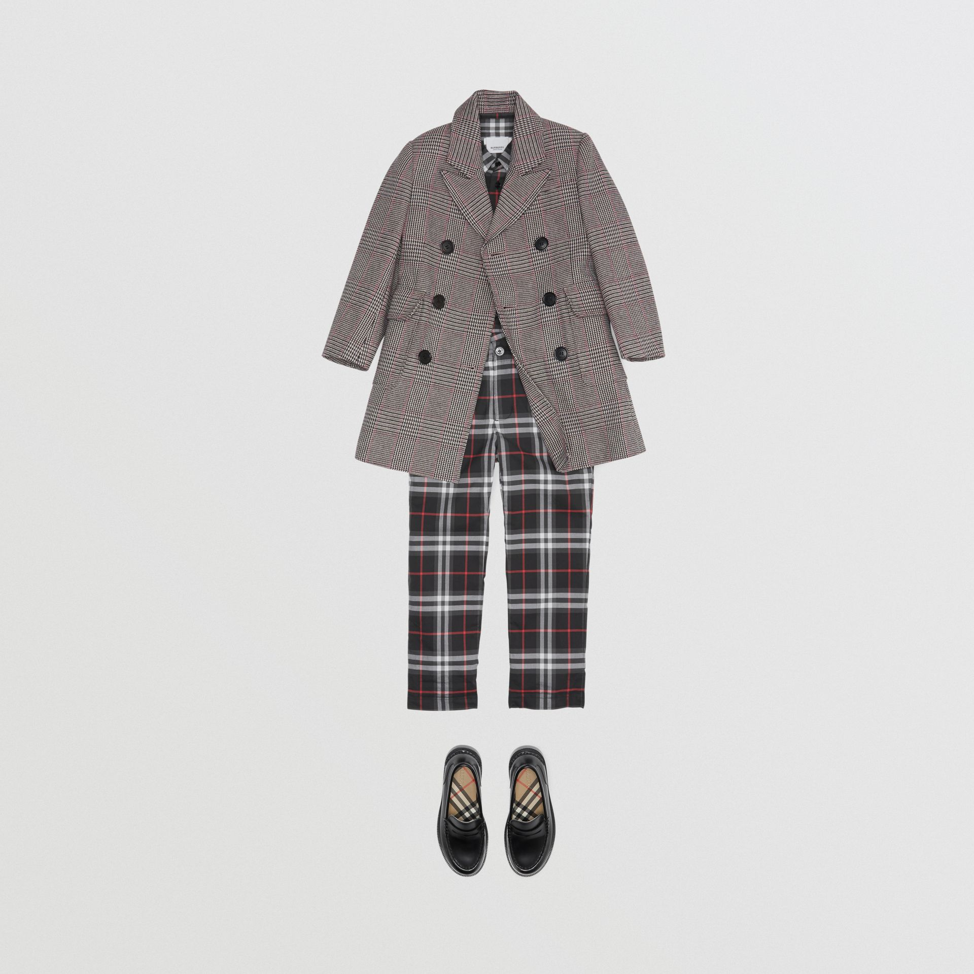 Vintage Check Cotton Tailored Trousers in Black - Boy | Burberry - gallery image 2