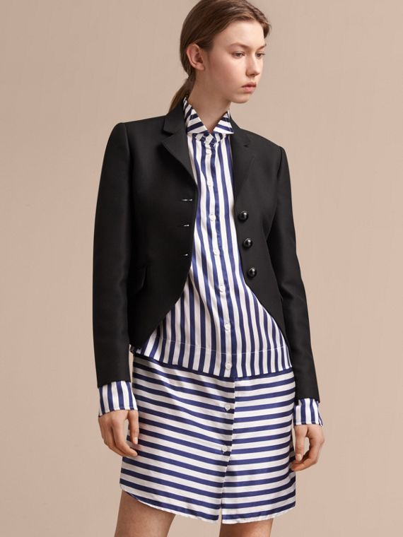 Wool Cotton Blend Twill Tailored Jacket - Women | Burberry