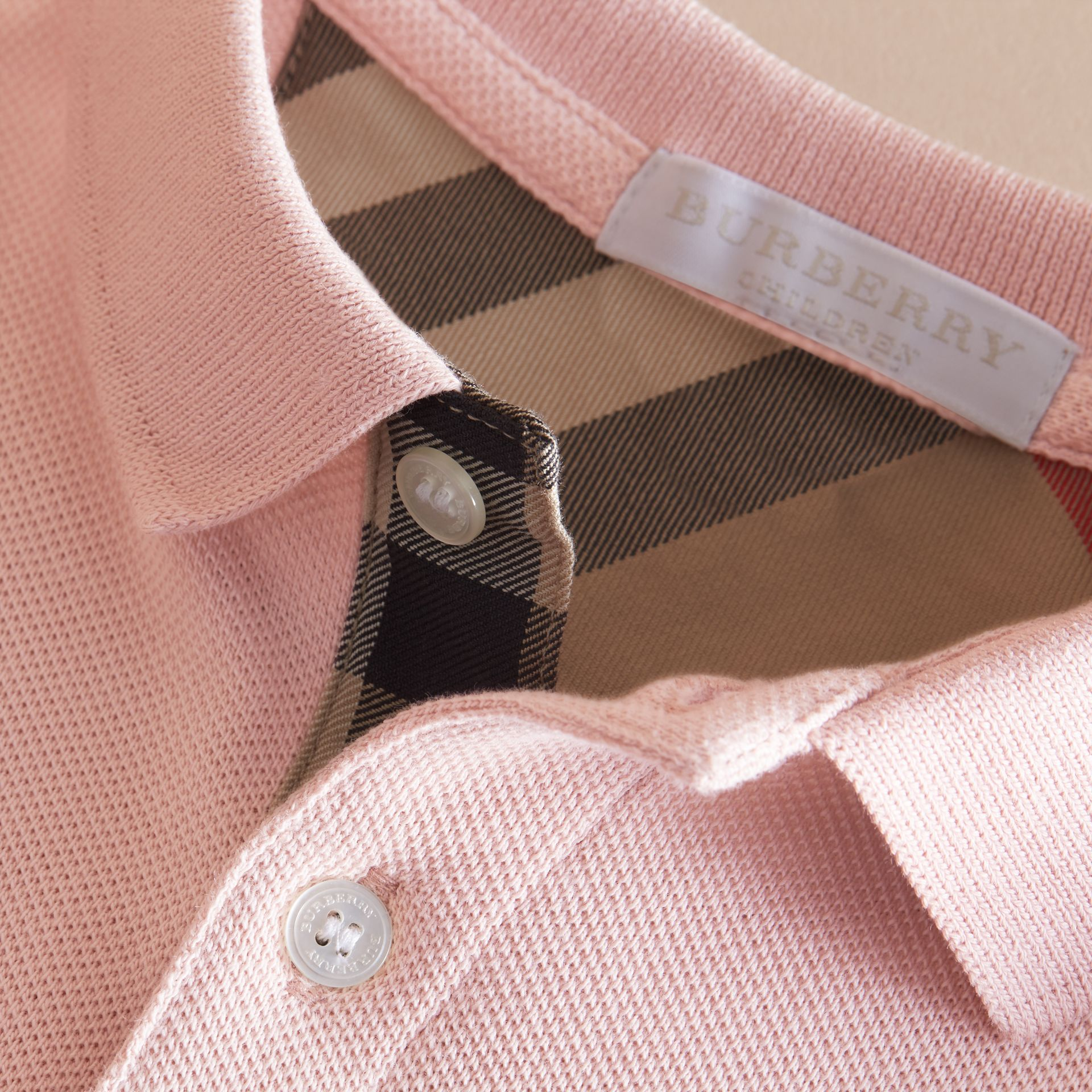 Check Placket Polo Shirt in Chalk Pink - Boy | Burberry Hong Kong - gallery image 2