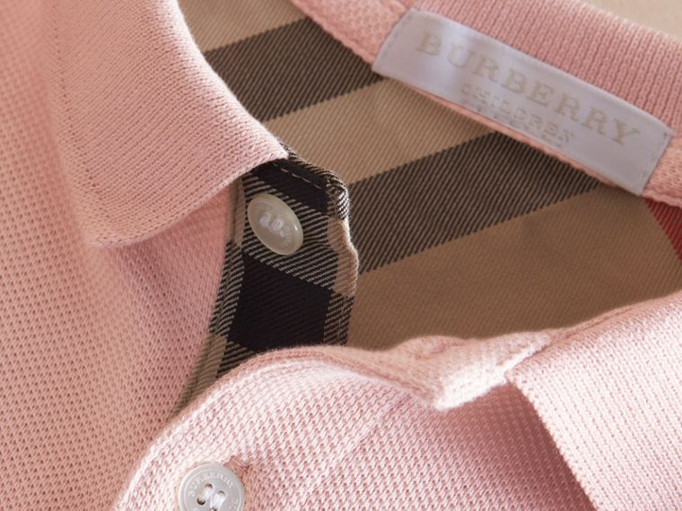 Check Placket Polo Shirt in Chalk Pink - Boy | Burberry - cell image 1