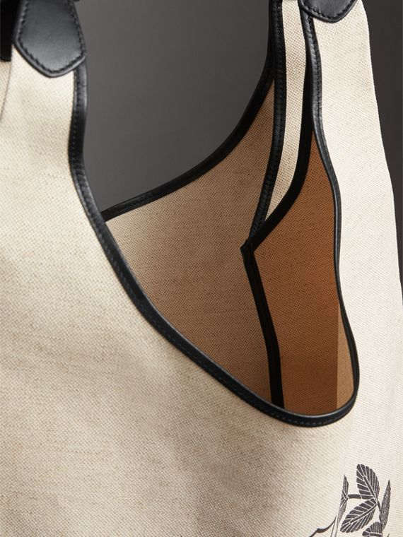 Medium Archive Logo Canvas and Leather Shopper in Black - Women | Burberry Canada - cell image 3