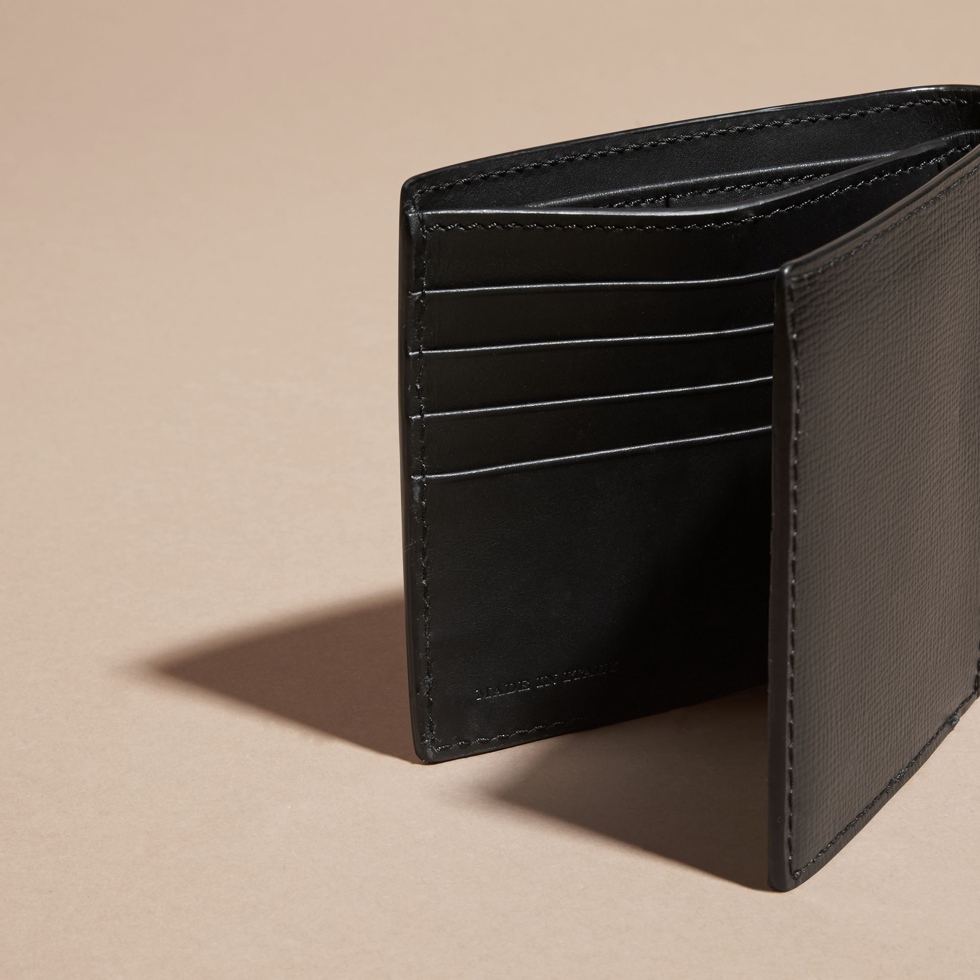Black London Leather and Alligator Folding Wallet Black - gallery image 5