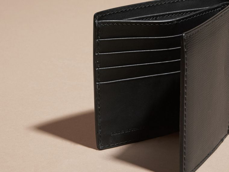 Leather and Alligator International Bifold Wallet in Black - Men | Burberry Australia - cell image 4