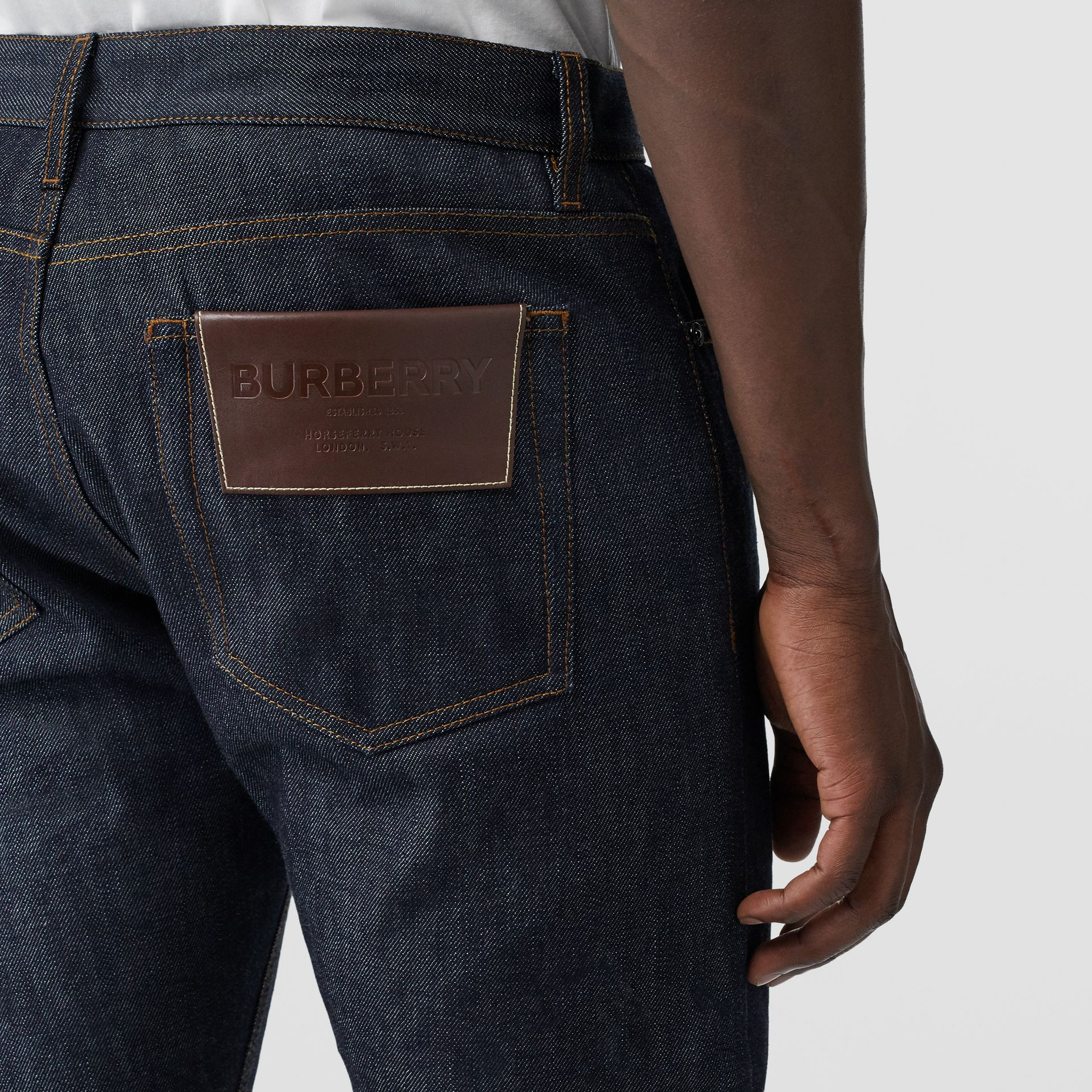 Straight Fit Japanese Selvedge Denim Jeans in Mid Indigo Blue - Men | Burberry - gallery image 1