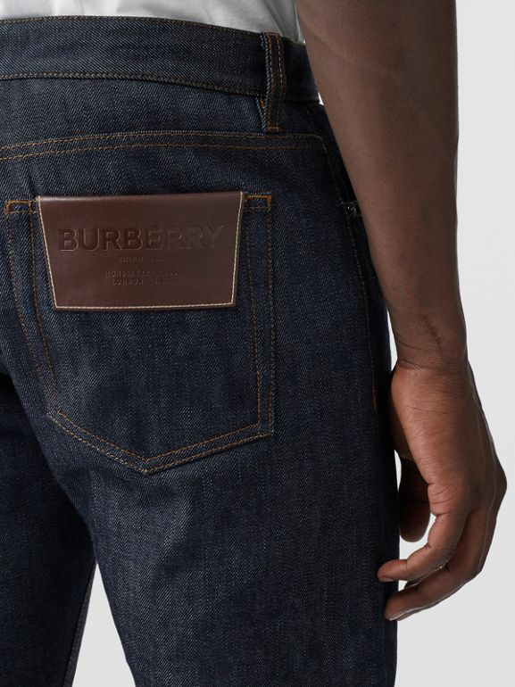 Straight Fit Japanese Selvedge Denim Jeans in Mid Indigo Blue - Men | Burberry United Kingdom - cell image 1