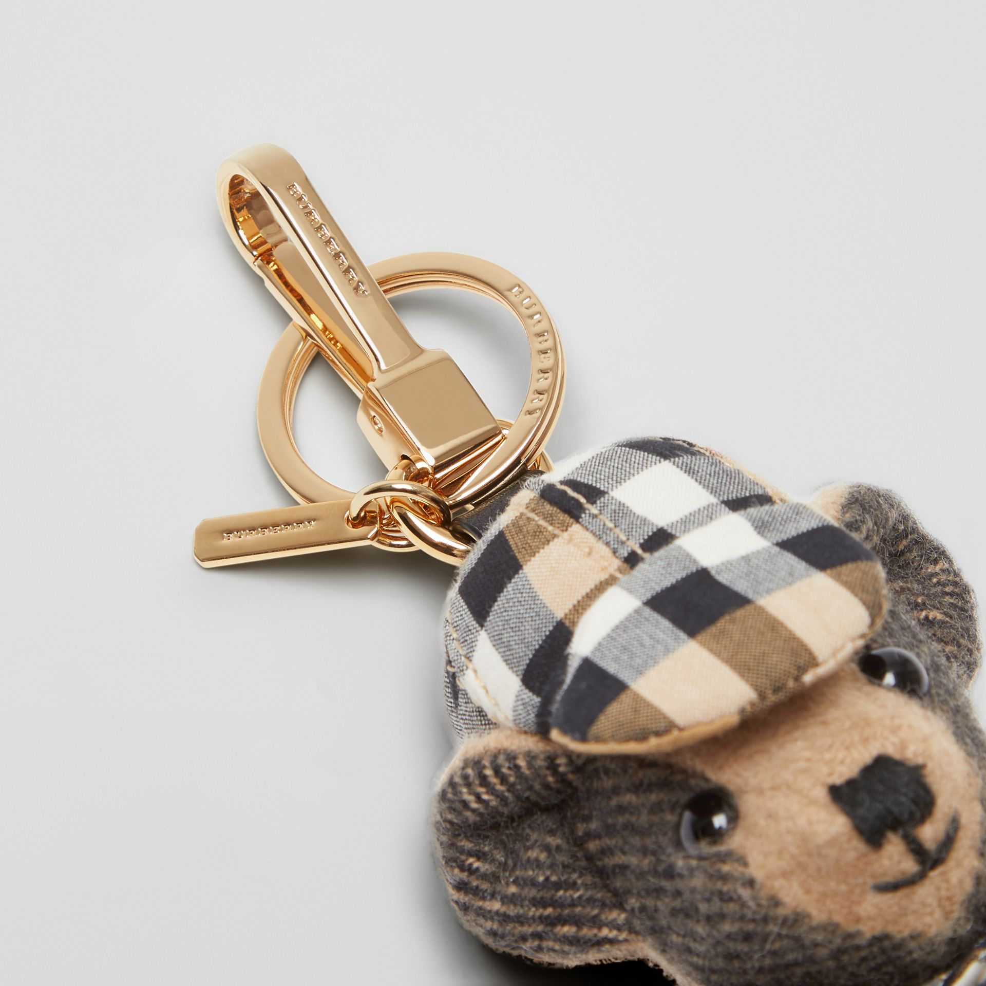 Thomas Bear Charm in Vintage Check Trench Coat in Camel | Burberry - gallery image 1
