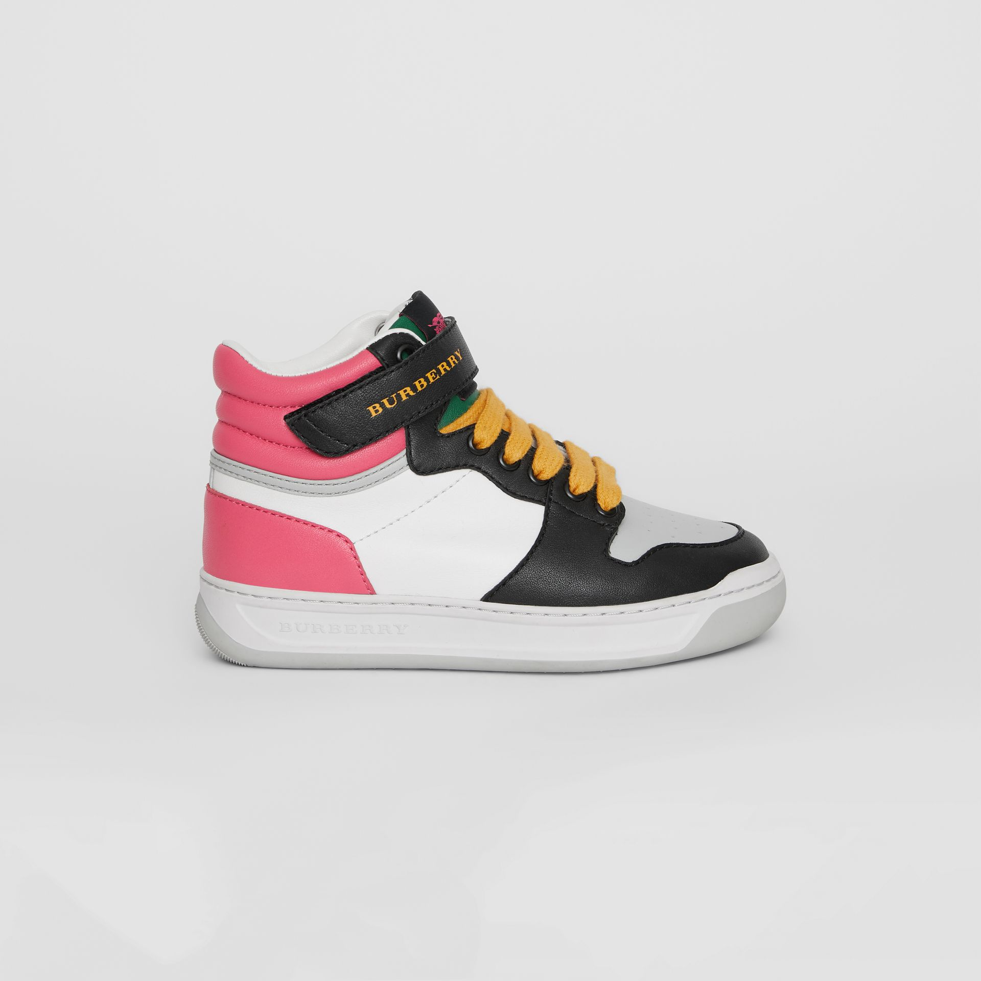 Colour Block Leather High-top Sneakers in Bright Rose | Burberry - gallery image 3