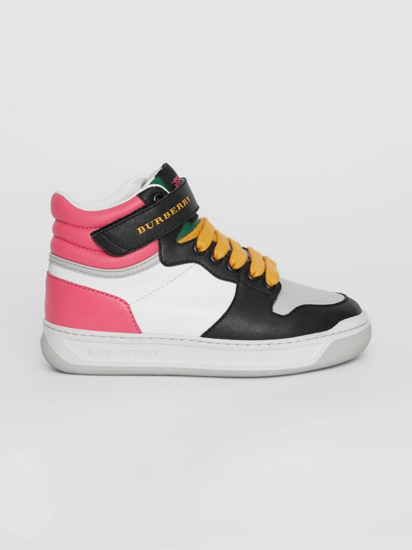 Colour Block Leather High-top Sneakers in Bright Rose | Burberry - cell image 3