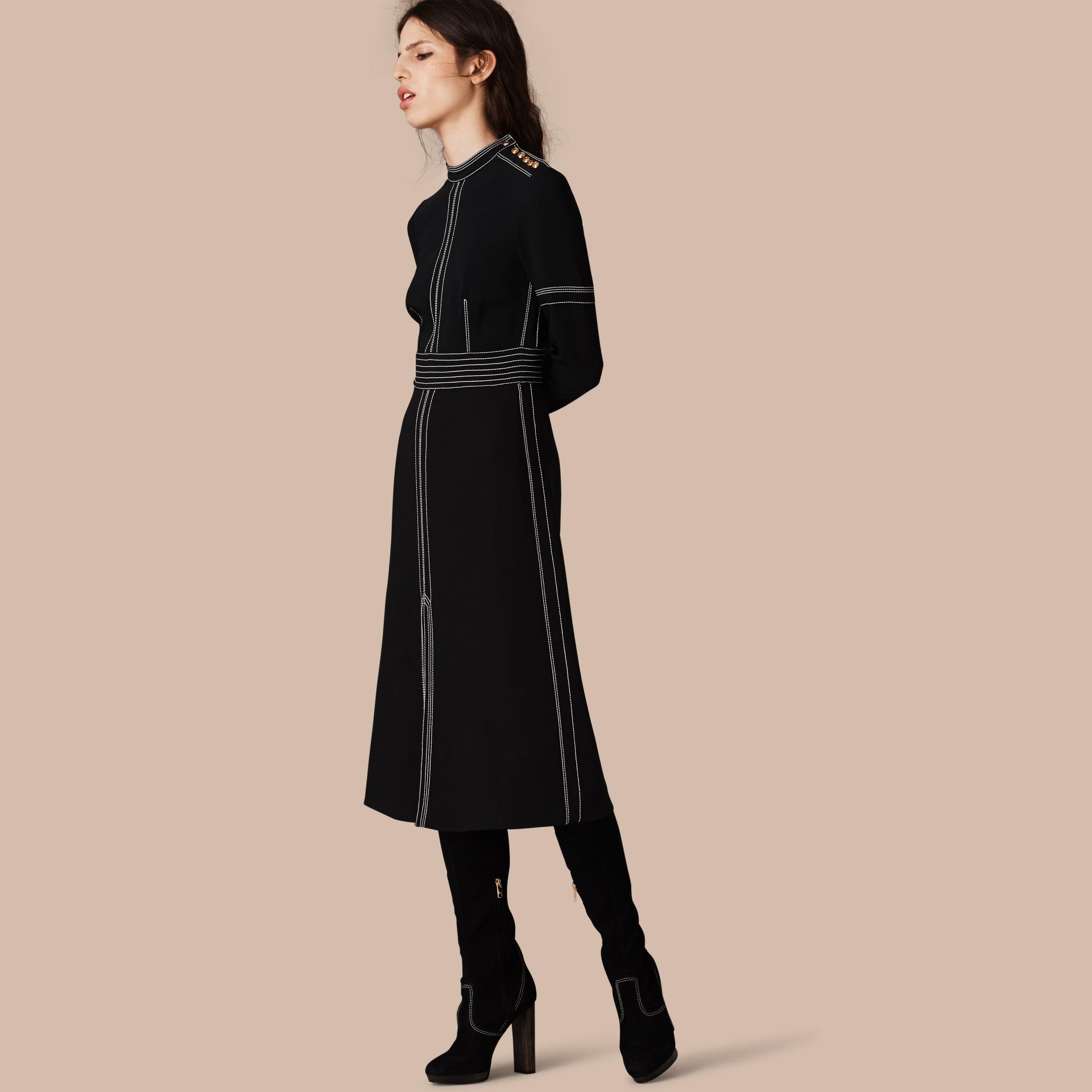 Black Regimental Wool Silk Shift Dress - gallery image 1