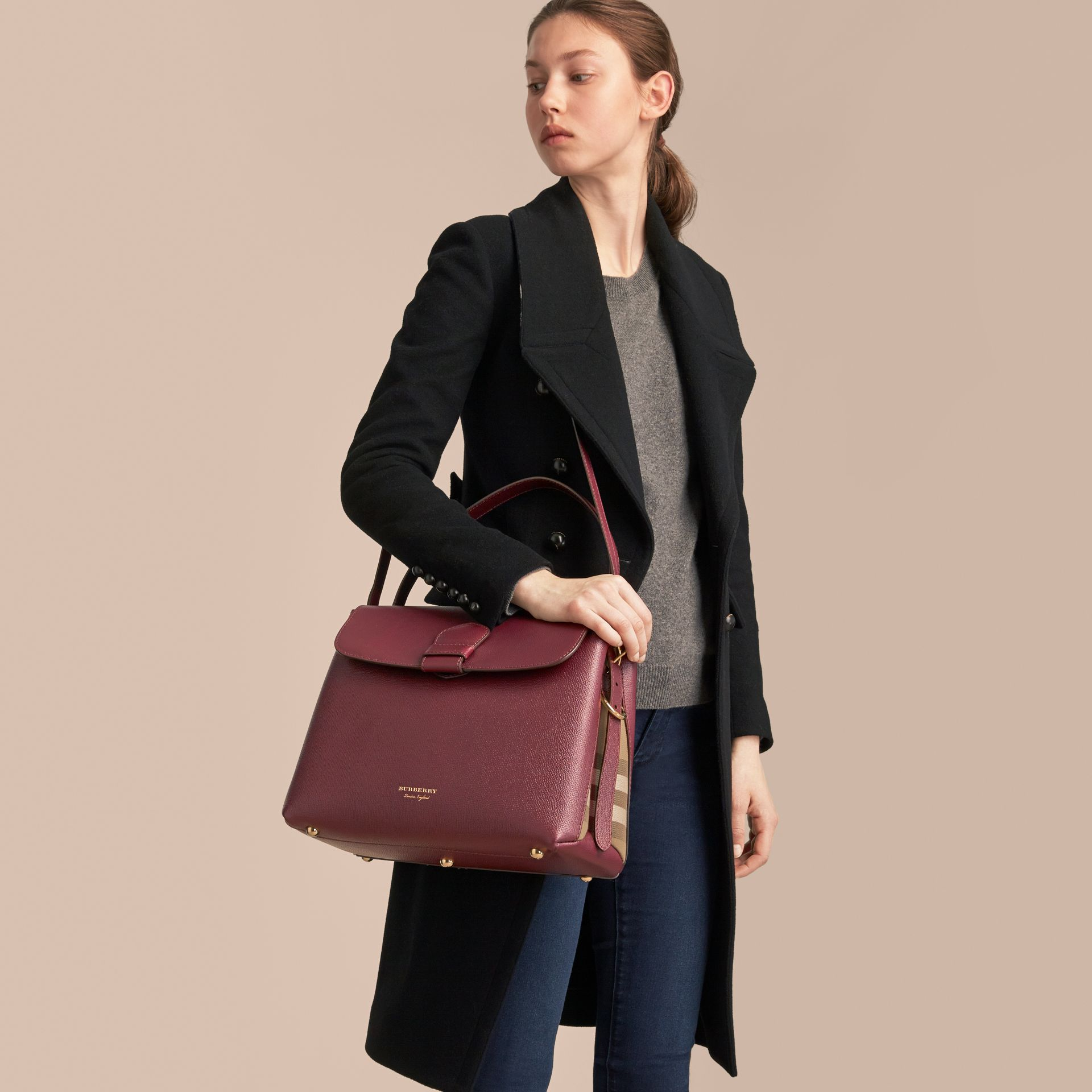 Medium Grainy Leather and House Check Tote Bag in Mahogany Red - Women | Burberry Singapore - gallery image 3
