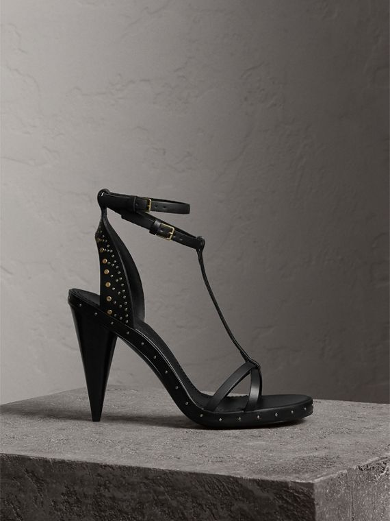 Riveted Leather High Cone-heel Sandals in Black