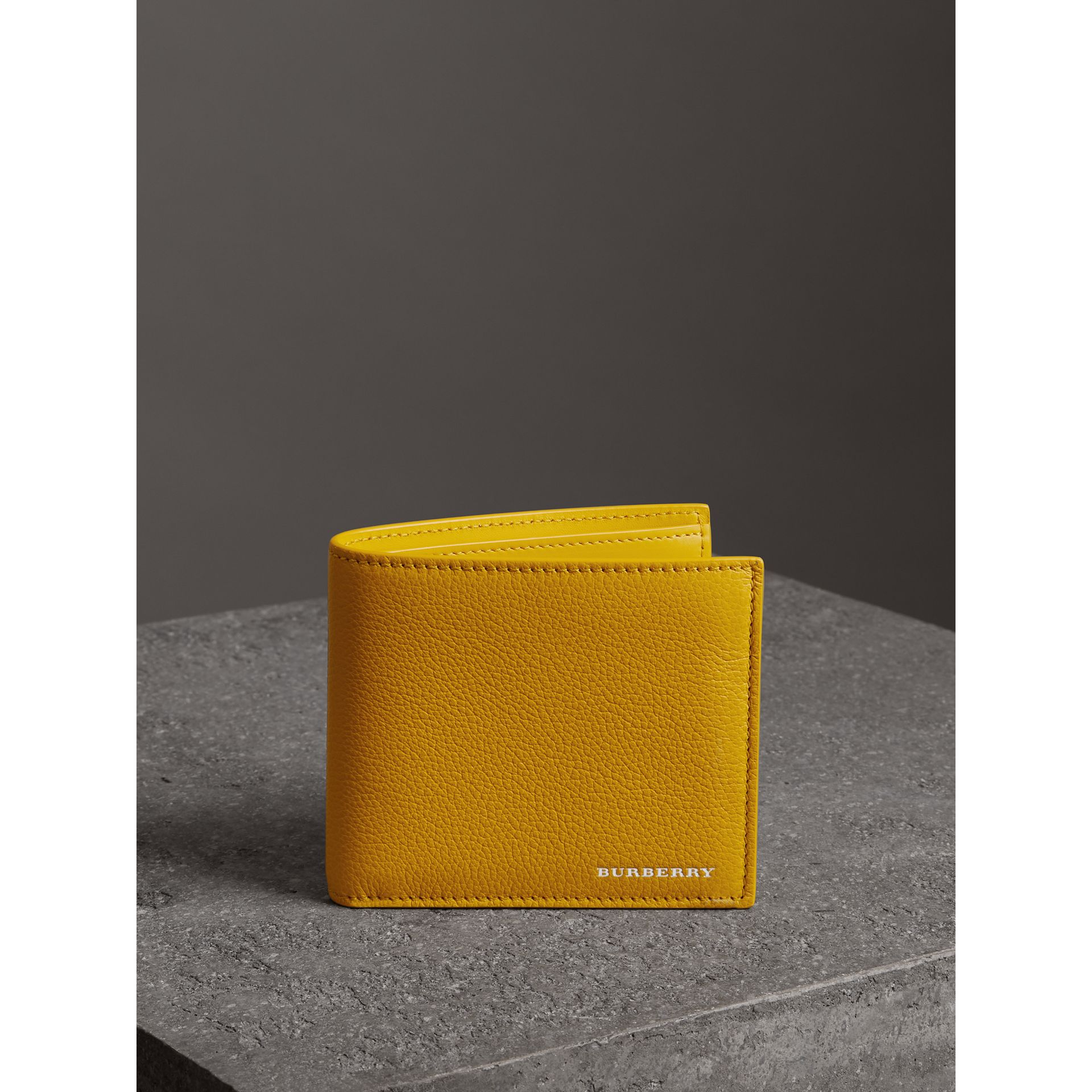Grainy Leather International Bifold Wallet in Bright Ochre Yellow - Men | Burberry Australia - gallery image 4