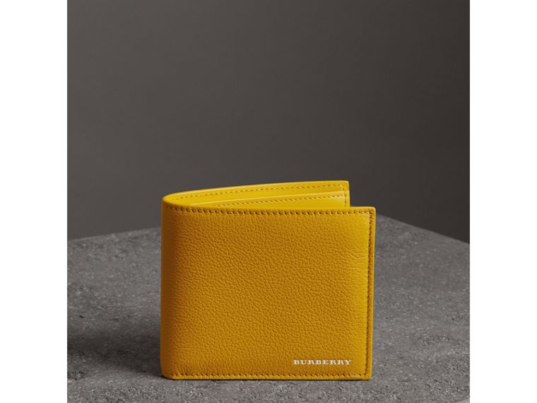 Grainy Leather International Bifold Wallet in Bright Ochre Yellow - Men | Burberry Australia - cell image 4