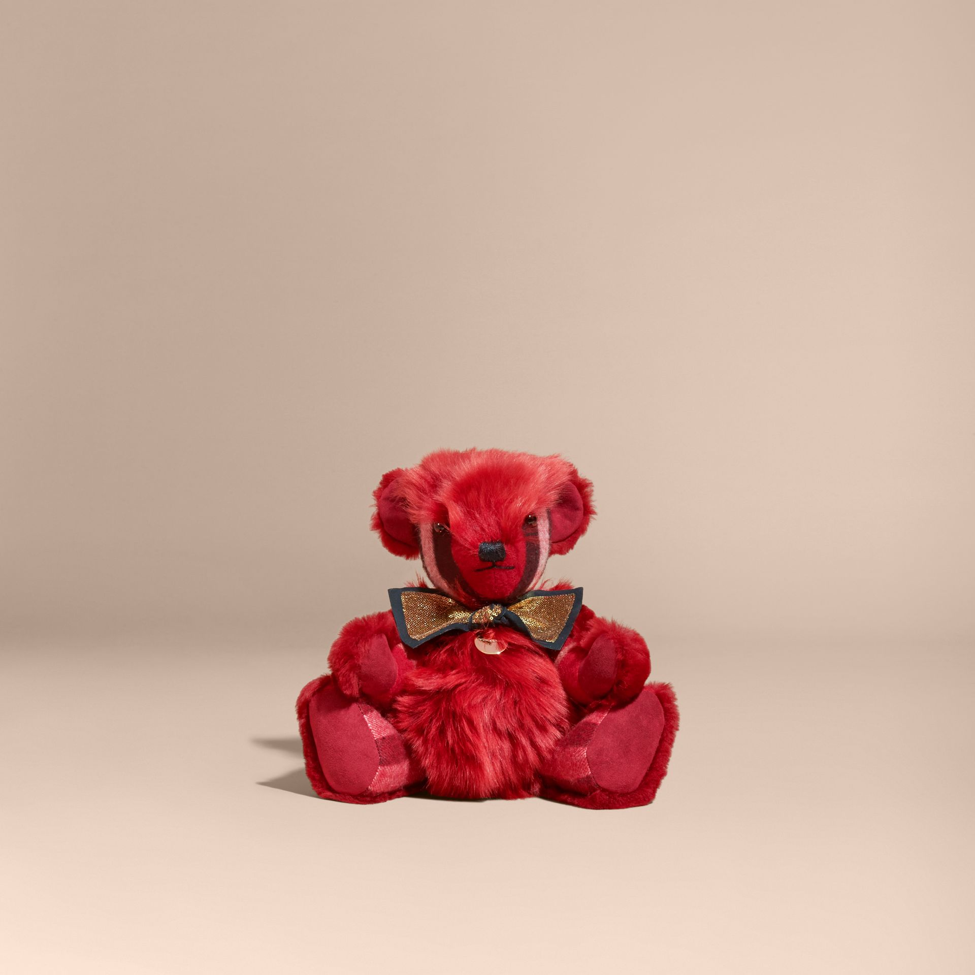Pom-Pom Thomas Bear in Shearling and Check Cashmere in Parade Red | Burberry - gallery image 4
