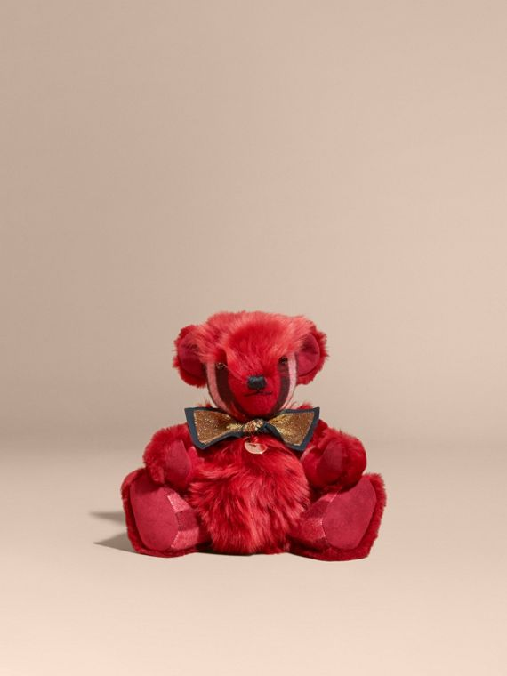 Parade red Pom-Pom Thomas Bear in Shearling and Check Cashmere Parade Red - cell image 3