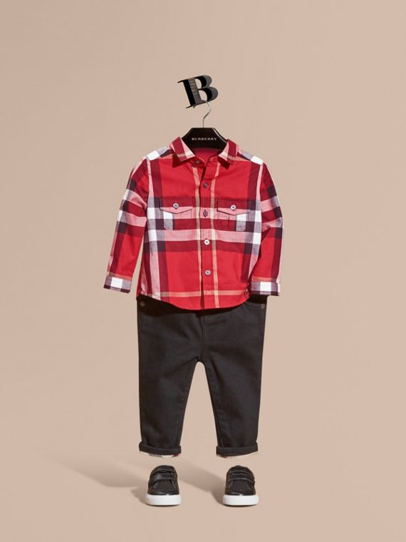 Check Cotton Shirt in Parade Red
