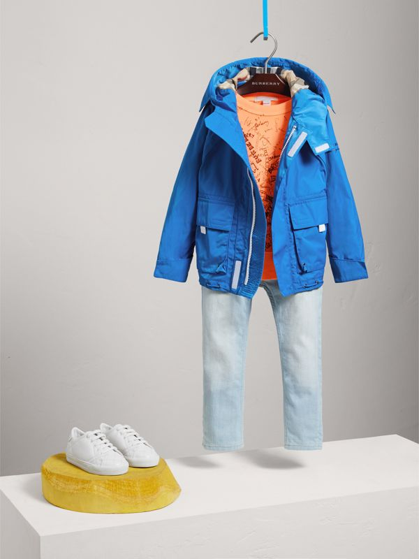 Hooded Shape-memory Taffeta Field Jacket in Azure Blue - Children | Burberry United Kingdom - cell image 2