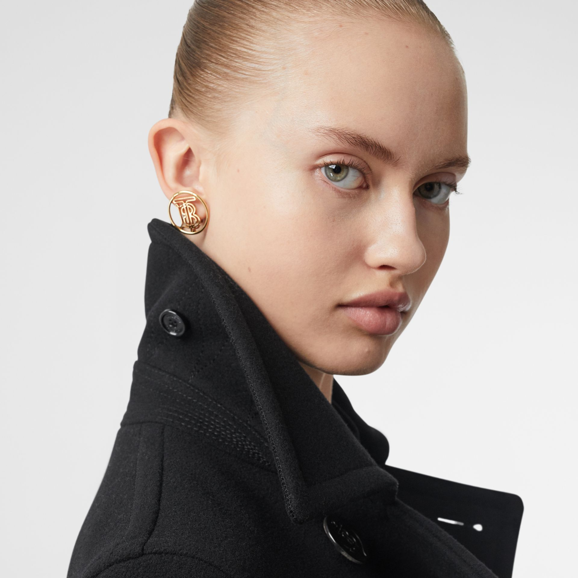Lambskin Pocket Wool Blend Pea Coat in Black - Women | Burberry - gallery image 4