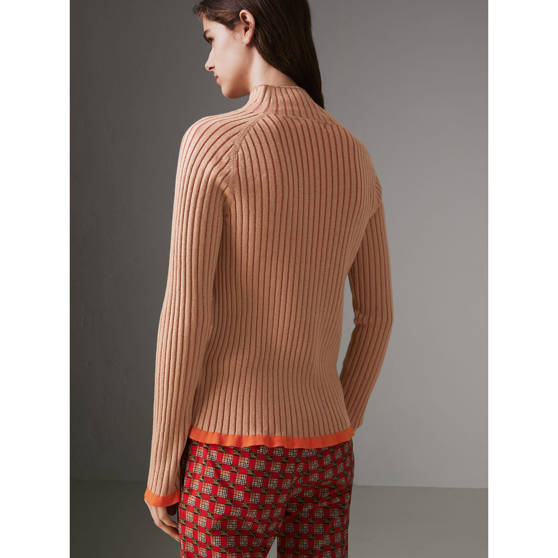Silk Cashmere Turtleneck Sweater in Sand Brown - Women | Burberry United Kingdom - gallery image 2
