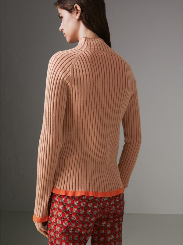 Silk Cashmere Turtleneck Sweater in Sand Brown - Women | Burberry United Kingdom - cell image 2