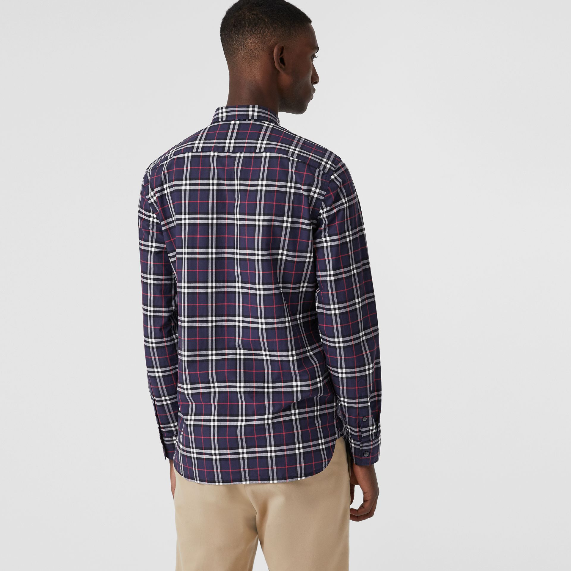 Check Cotton Shirt in Navy - Men | Burberry Canada - gallery image 2