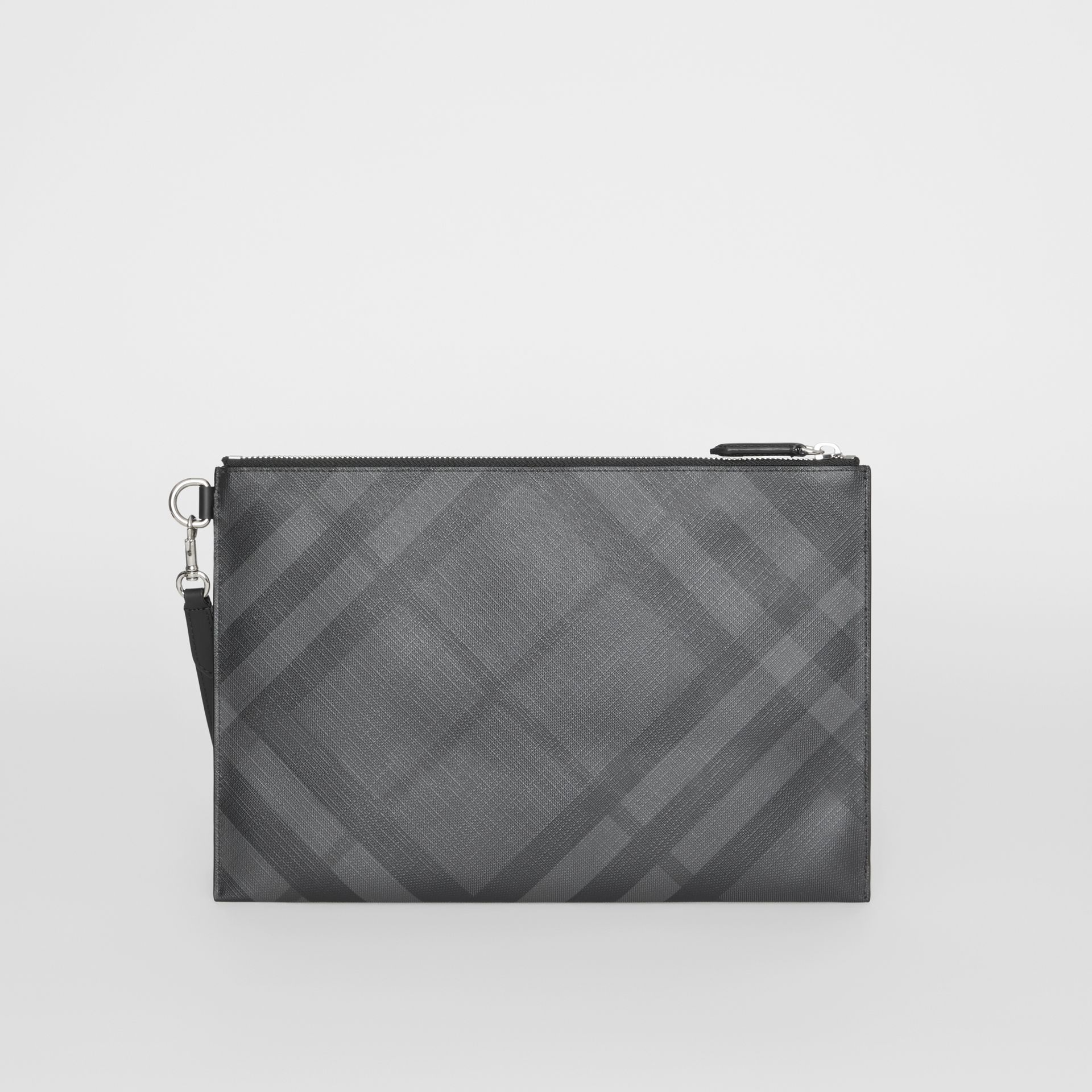 London Check Zip Pouch in Charcoal/black | Burberry Australia - gallery image 7