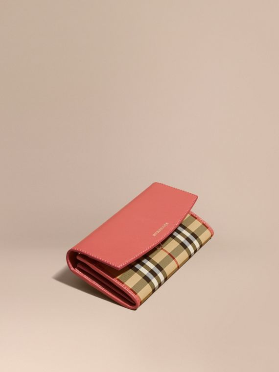 Horseferry Check and Leather Continental Wallet Antique Rose