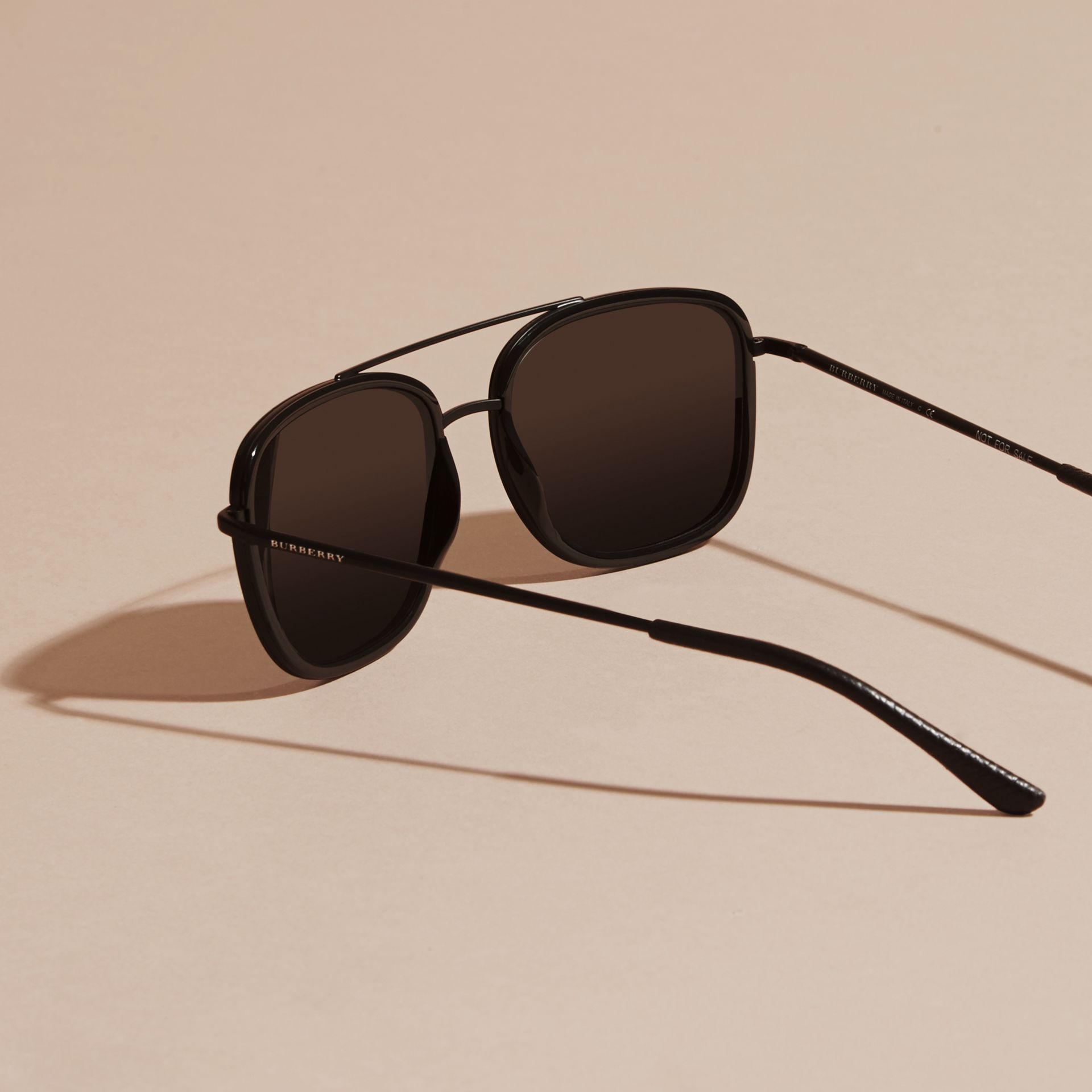 Black Square Frame Acetate and Leather Sunglasses Black - gallery image 5