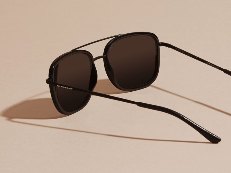 Black Square Frame Acetate and Leather Sunglasses Black - cell image 4