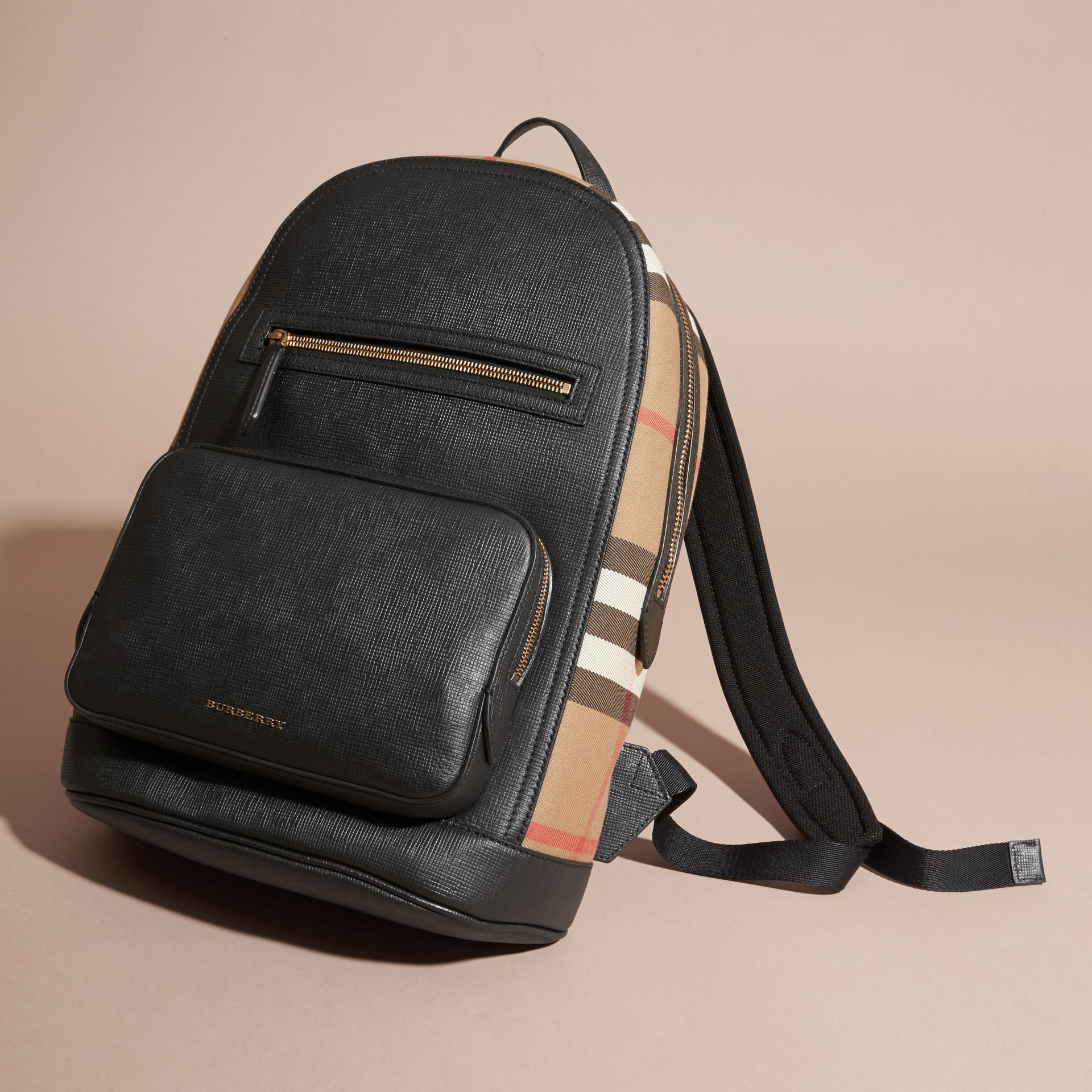 Black Textured Leather and House Check Backpack - gallery image 7