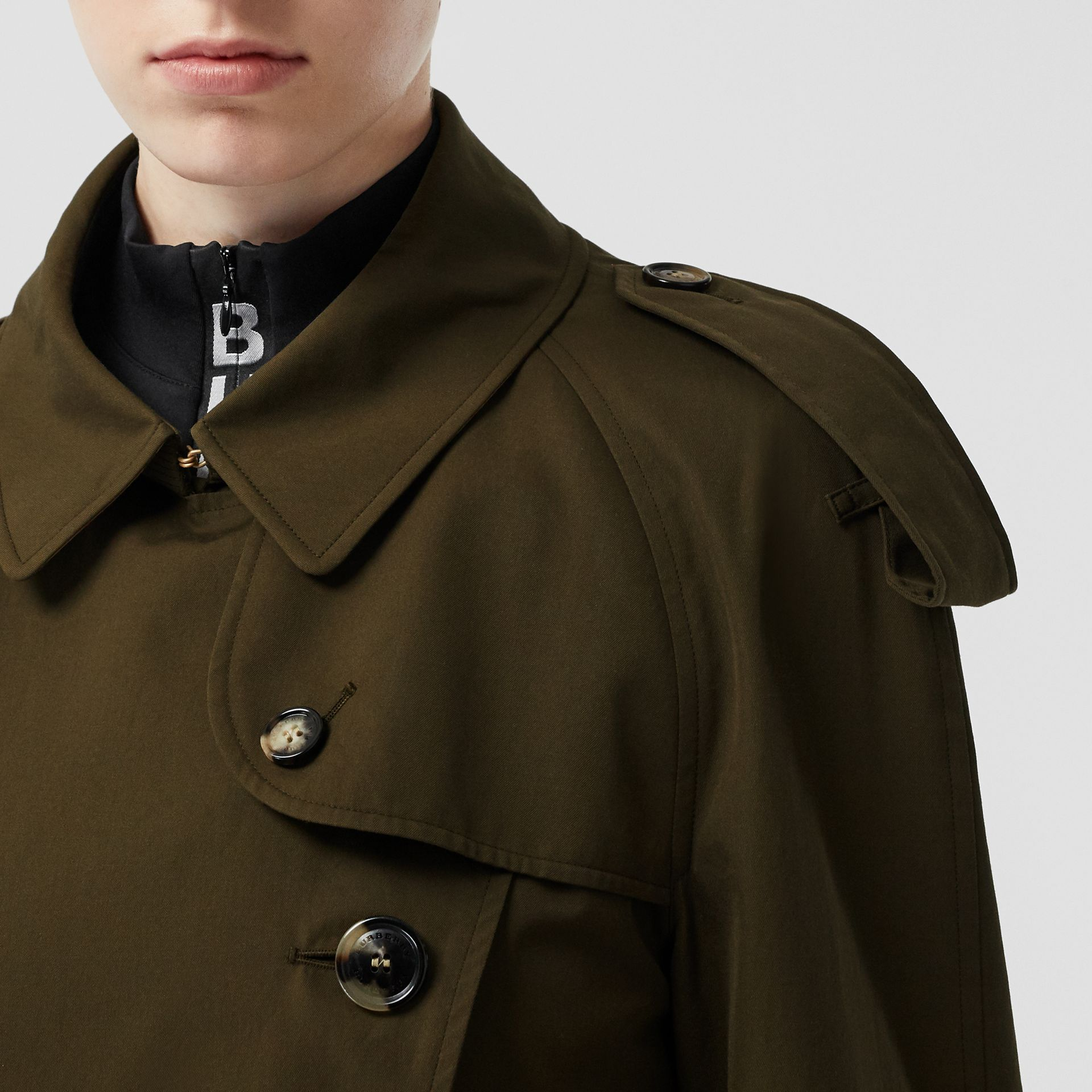 Tropical Gabardine Mid-length Trench Coat in Dark Military Khaki - Women | Burberry - gallery image 5