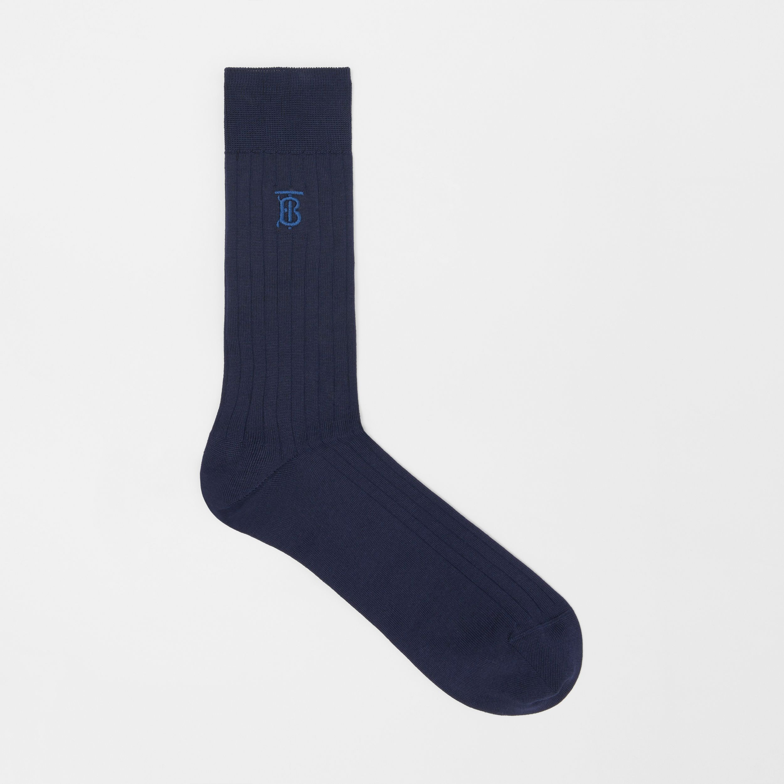 Monogram Motif Cotton Blend Socks in Navy | Burberry Australia - 1