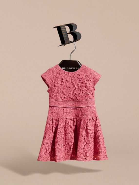 Cap Sleeve Macramé Lace Dress in Pink Azalea - Girl | Burberry - cell image 2