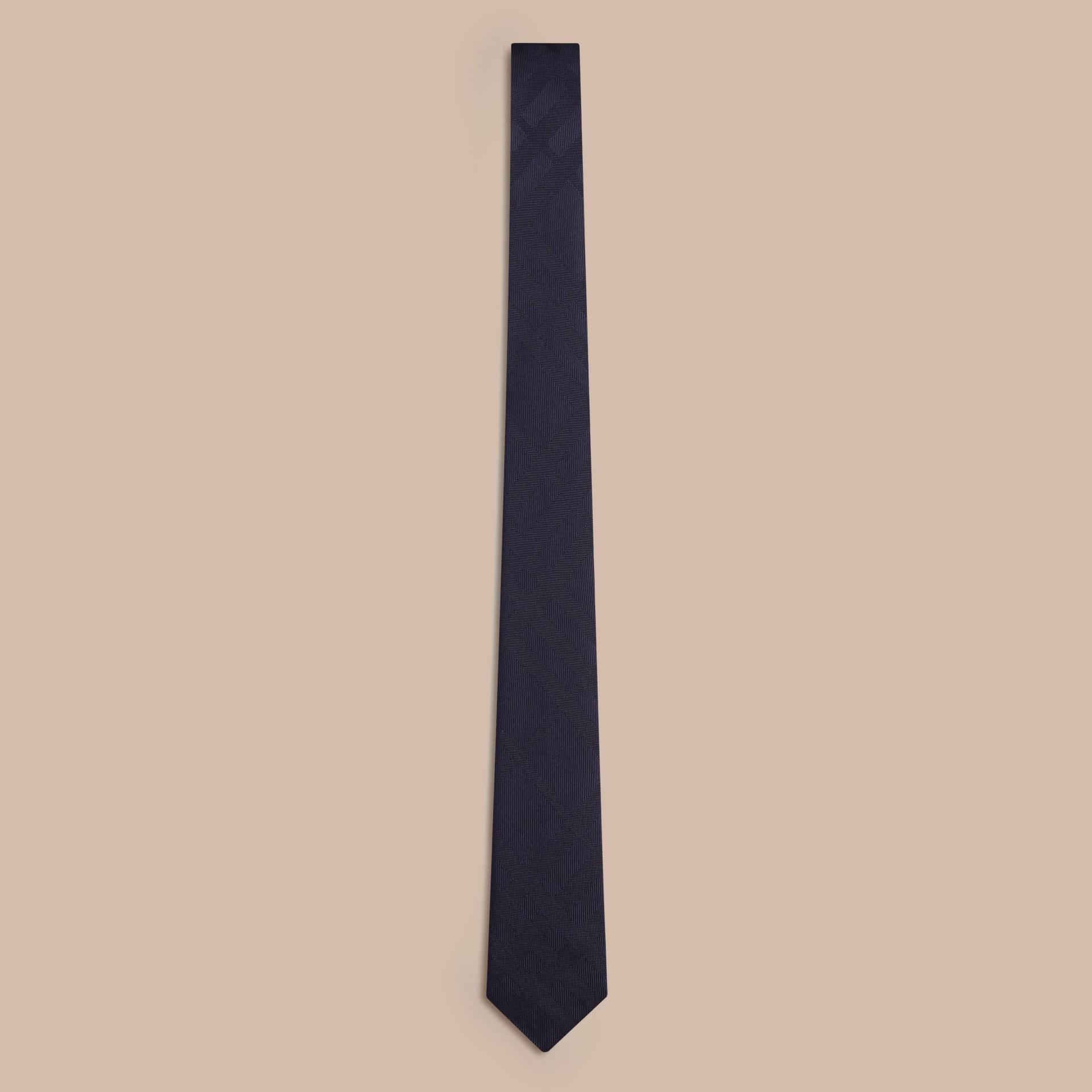 Navy Cravatta dal taglio sottile in seta con motivo check Navy - immagine della galleria 1