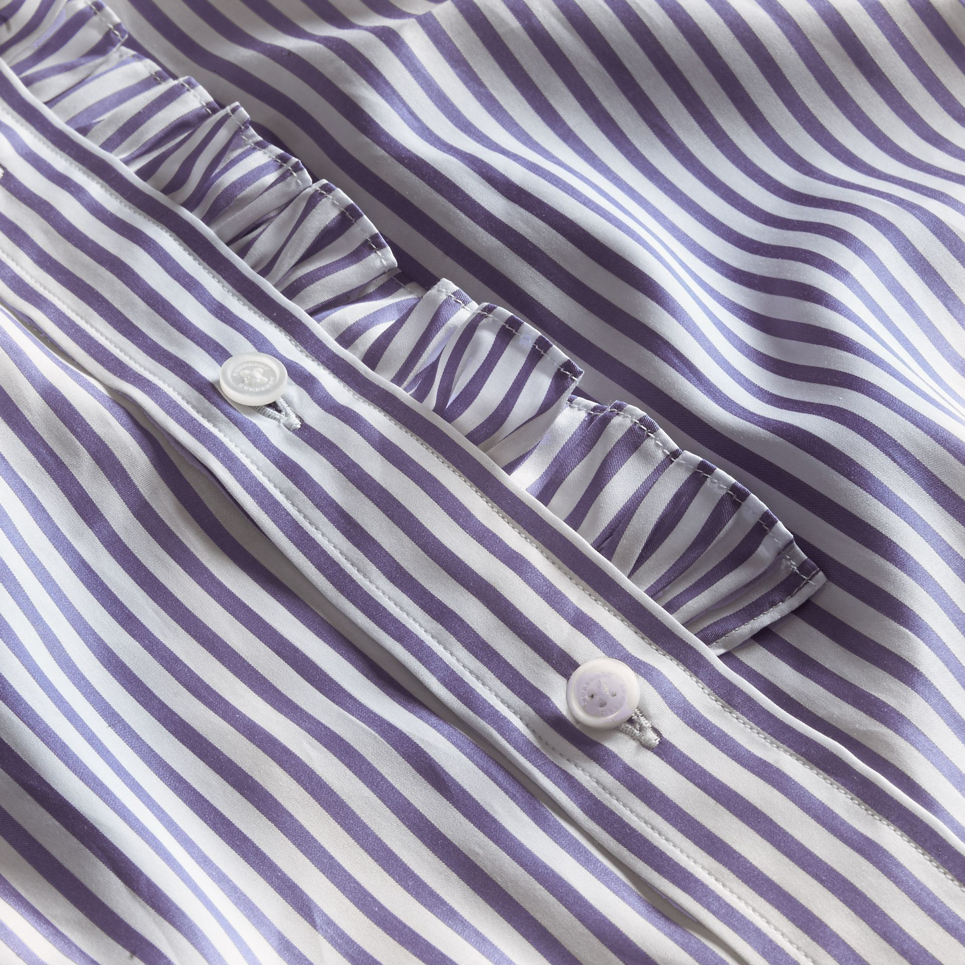 Ruffle Detail Double Cuff Striped Cotton Shirt - gallery image 2