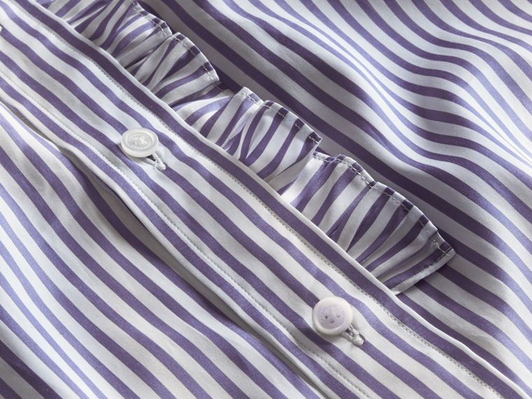 Ruffle Detail Double Cuff Striped Cotton Shirt - cell image 1