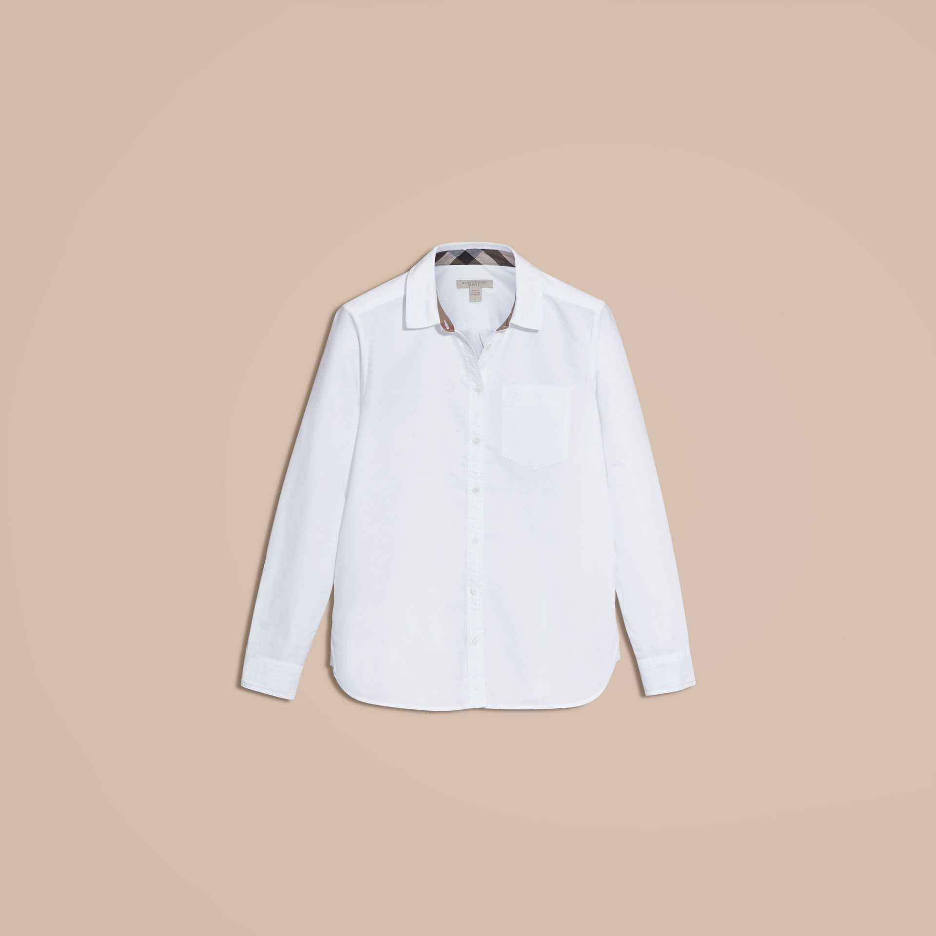 Optic white Check Detail Cotton Shirt Optic White - gallery image 4