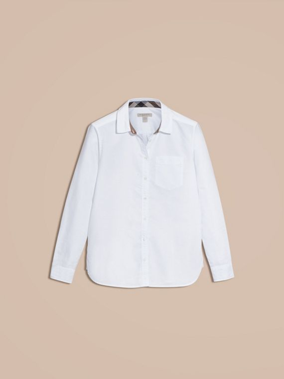 Optic white Check Detail Cotton Shirt Optic White - cell image 3