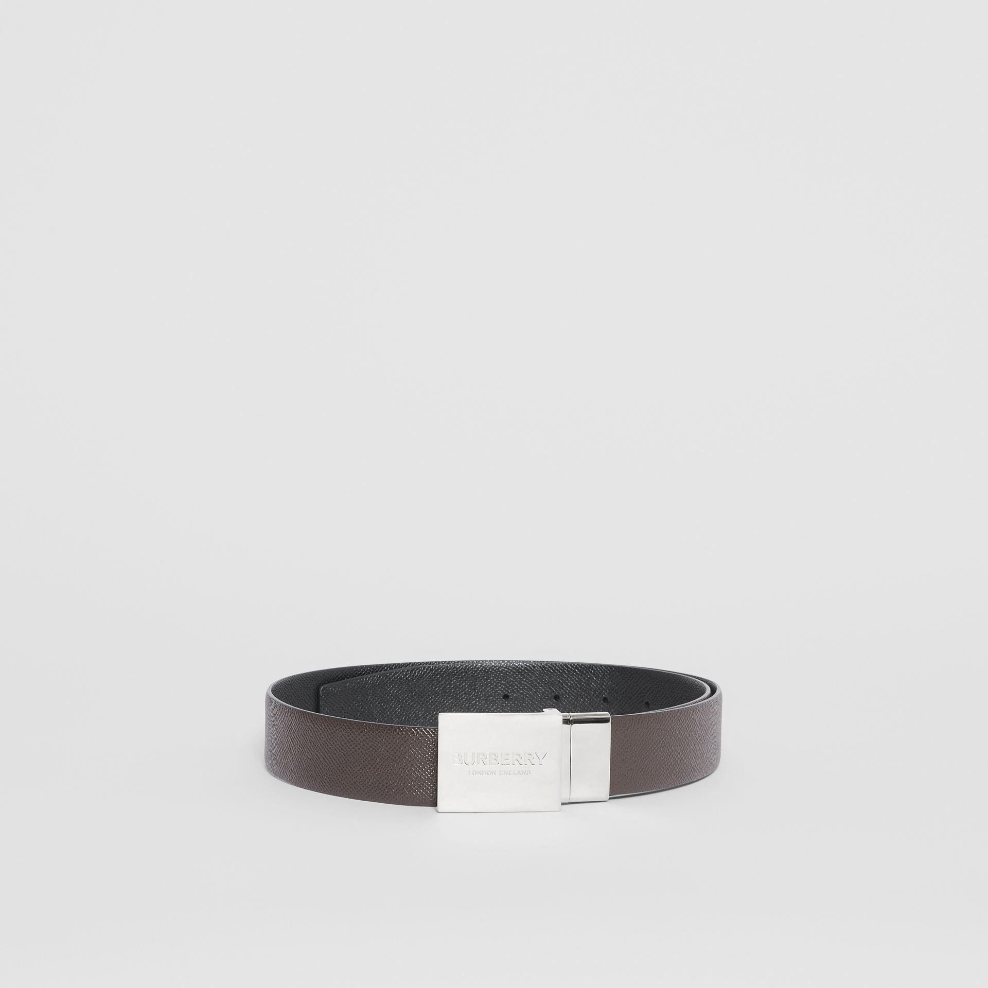 Reversible Plaque Buckle Grainy Leather Belt in Chocolate/black - Men | Burberry Singapore - gallery image 3