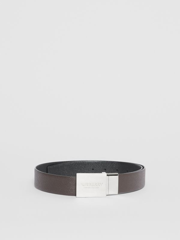 Reversible Plaque Buckle Grainy Leather Belt in Chocolate/black - Men | Burberry Singapore - cell image 3