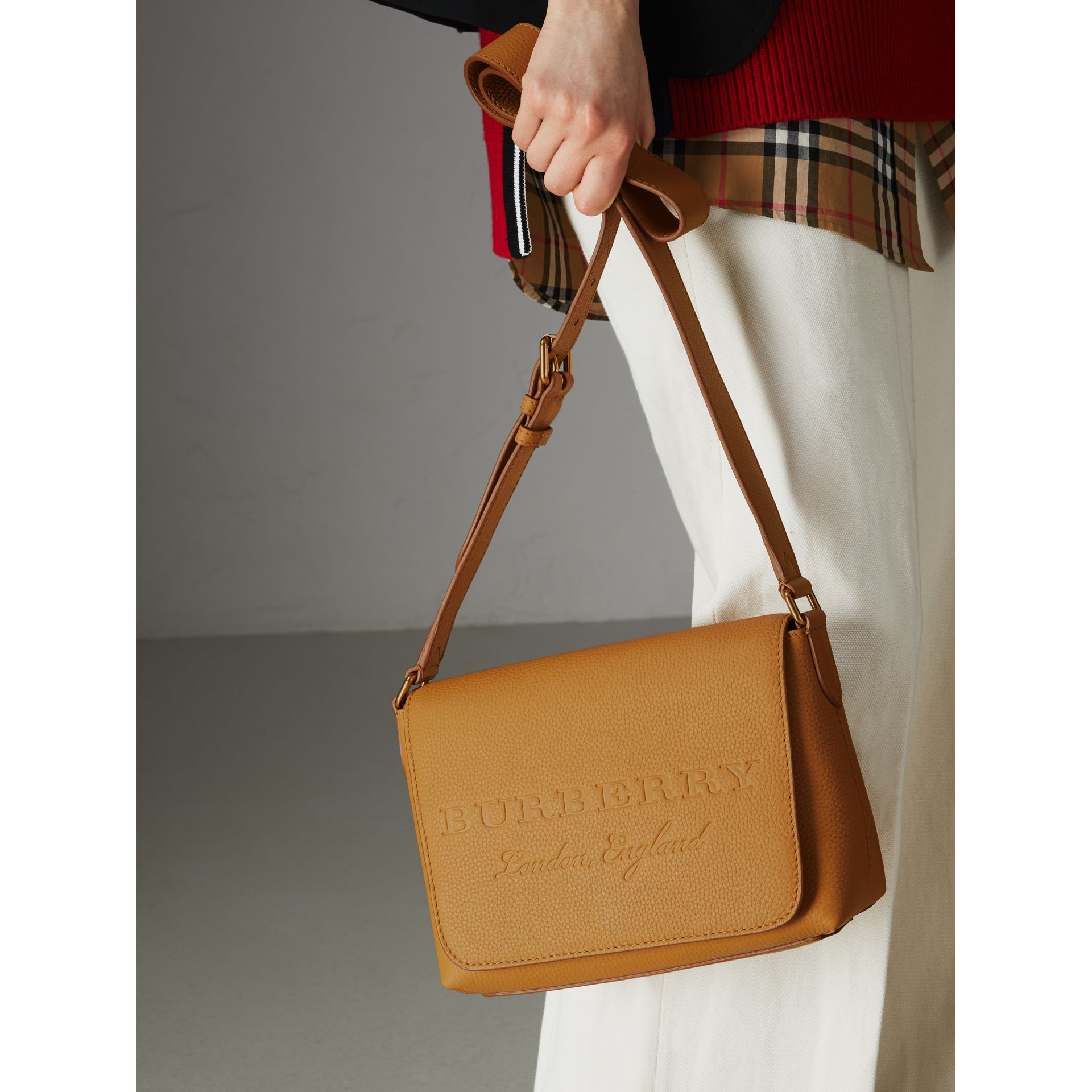 Small Embossed Leather Messenger Bag in Ochre Yellow - Women | Burberry United Kingdom - gallery image 3