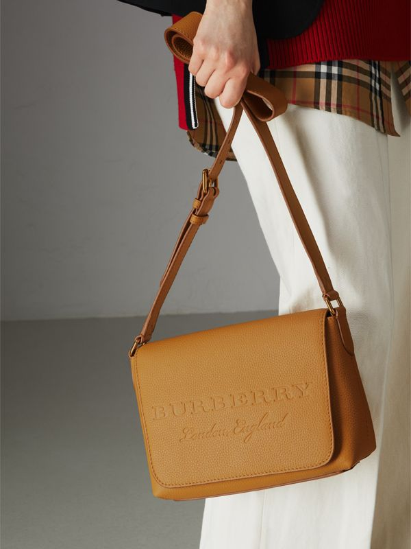 Small Embossed Leather Messenger Bag in Ochre Yellow - Women | Burberry United Kingdom - cell image 3