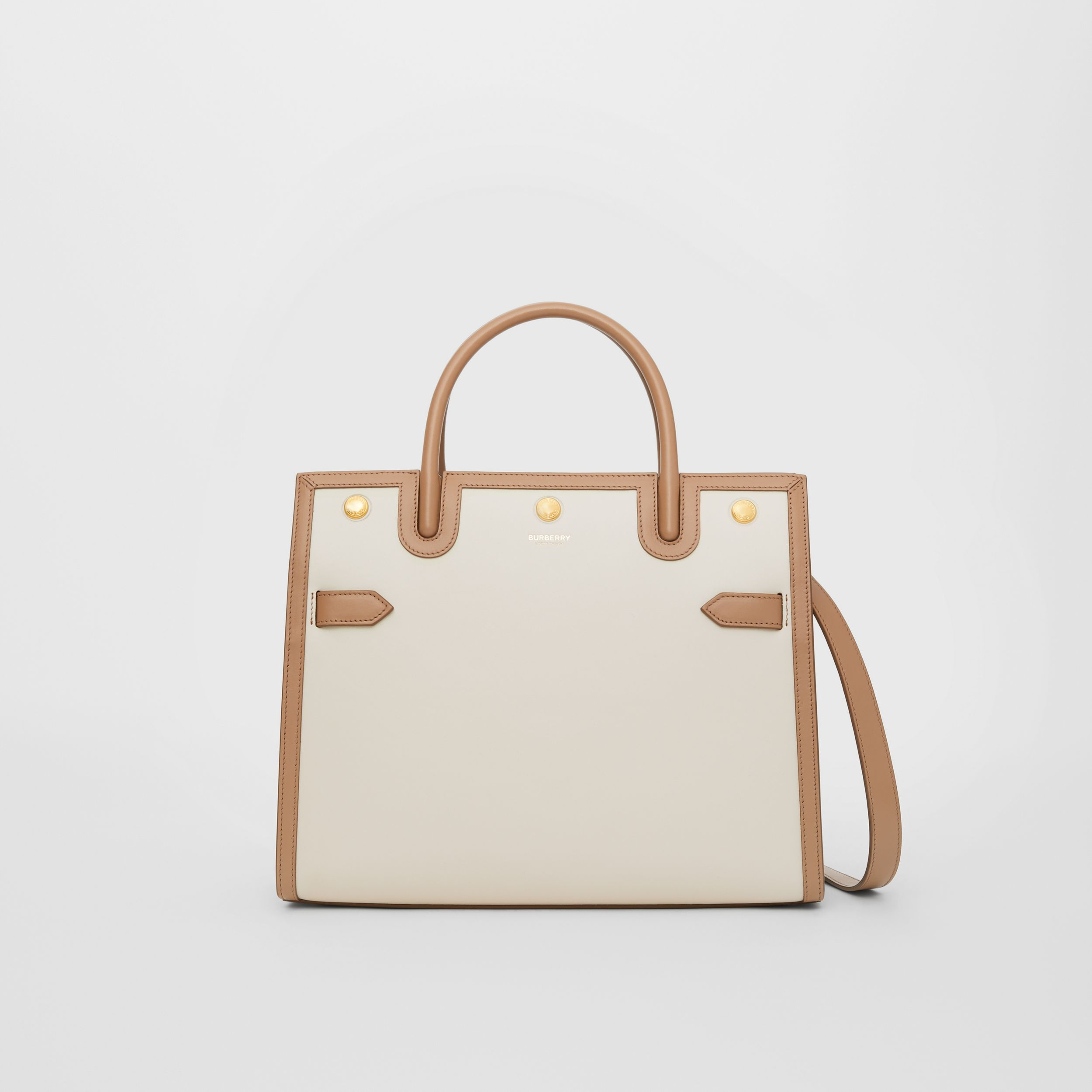 Small Leather Two-handle Title Bag in Buttermilk/camel - Women | Burberry - 1
