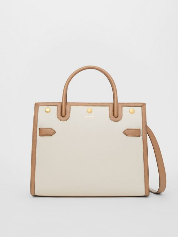 Small Leather Two-handle Title Bag in Buttermilk/camel