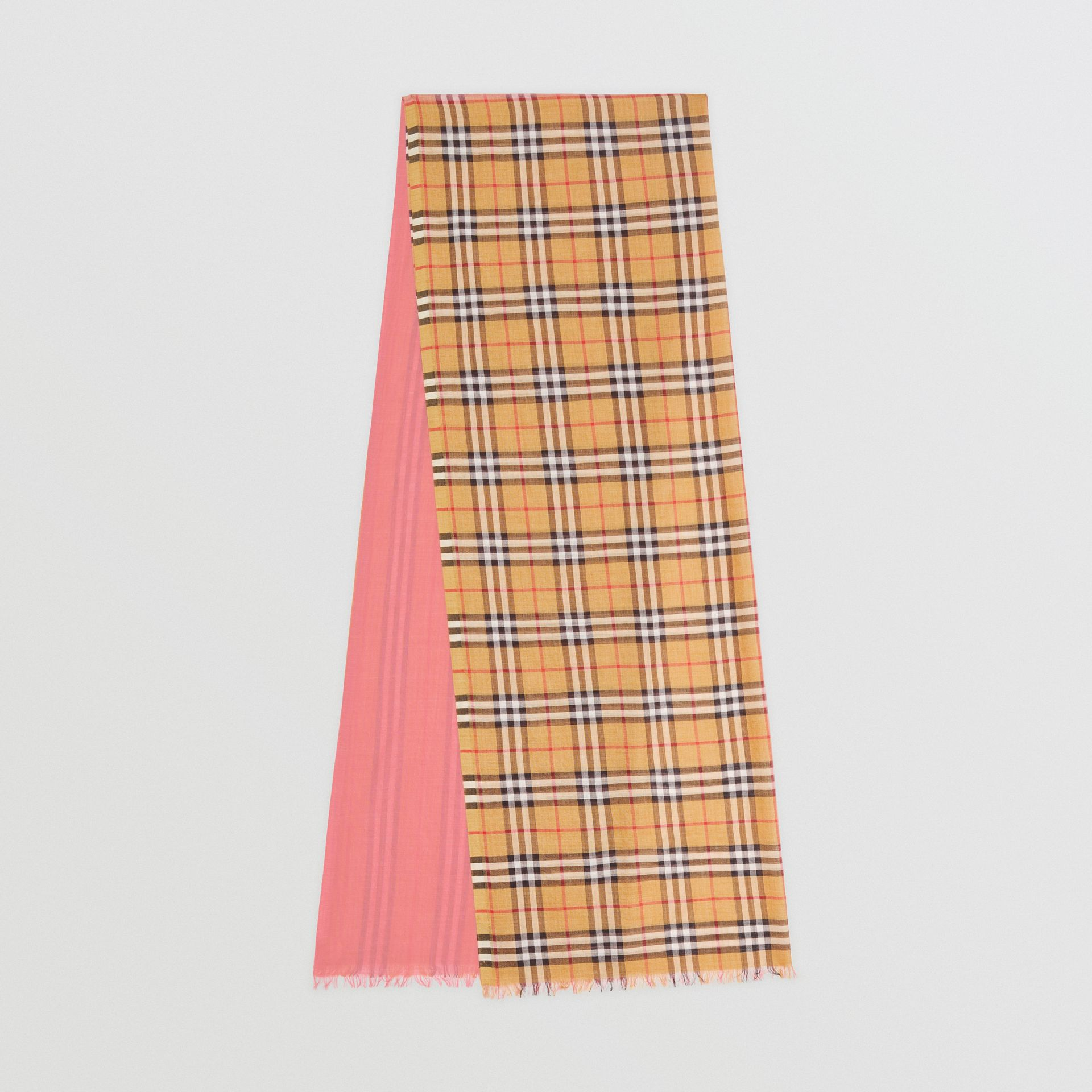 Vintage Check and Colour Block Wool Silk Scarf in Rose Pink | Burberry Australia - gallery image 0