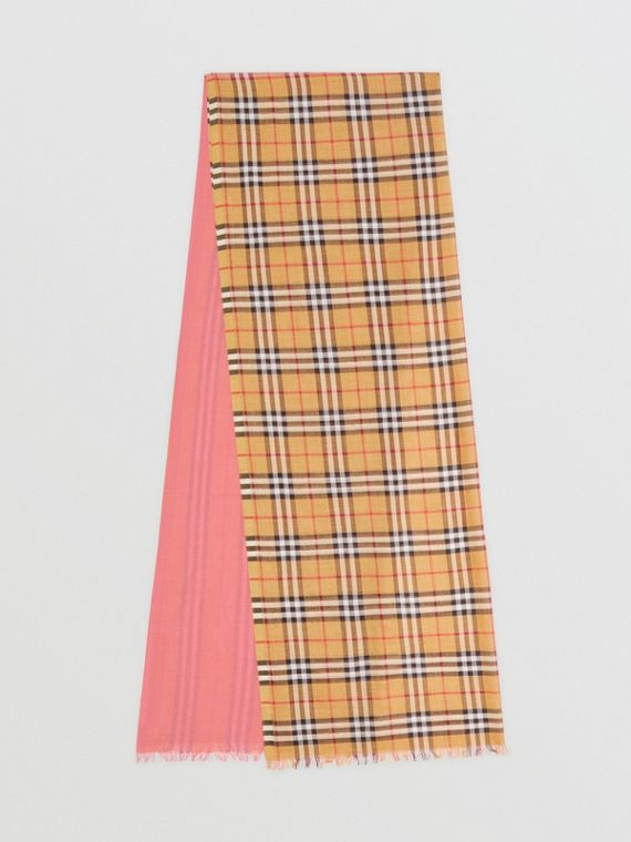 Vintage Check and Colour Block Wool Silk Scarf in Rose Pink